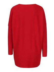 Červený rebrovaný oversize sveter s véčkovým výstrihom Apricot