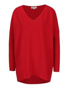 Červený žebrovaný oversize svetr s véčkovým výstřihem Apricot