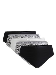 Sada pěti květovaných kalhotek v krémové a černé barvě M&Co