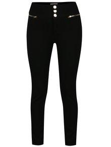 Černé kalhoty s vyšším pasem a kapsami na zip a vyšším Apricot