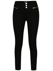 Pantaloni negri cu talie inalta si fermoare decorative Apricot