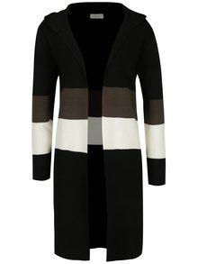 Černý pruhovaný cardigan s kapucí Apricot
