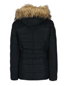 Tmavomodrá prešívaná zimná bunda s opaskom Apricot