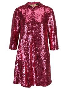 Růžové flitrované šaty s 3/4 rukávem Framboise This bright