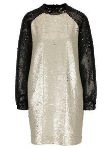 Béžovo-černé flitrované šaty Framboise Shimmer