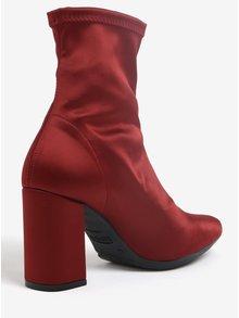 Vínové kotníkové boty na podpatku OJJU