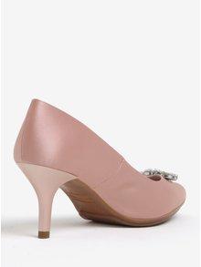 Pantofi roz pal cu toc si aplicatii decorative - OJJU