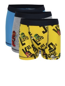 Súprava troch chlapčenských boxeriek v žltej a modrej farbe Lego Wear Umer