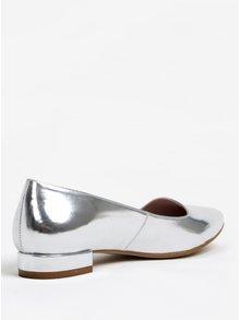 Lesklé baleríny ve stříbrné barvě na nízkém podpatku OJJU