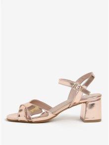 Lesklé sandále v ružovozlatej farbe na širokom podpätku OJJU