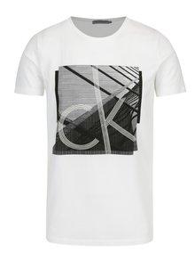 Bílé pánské tričko s černým potiskem Calvin Klein Jeans Tradon