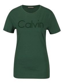Tmavozelené dámske tričko s výšivkou Calvin Klein Jeans Tanya