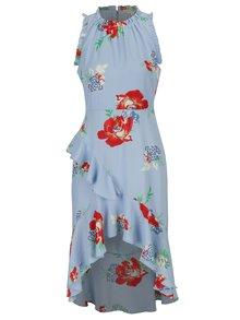 Rochie albastra asimetrica cu print floral si volane - Miss Selfridge