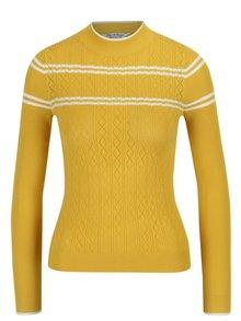 Hořčicový vzorovaný svetr Miss Selfridge