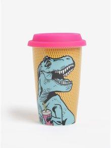 Cana de calatorie din portelan cu print dinozaur - T-Rexe Mustard