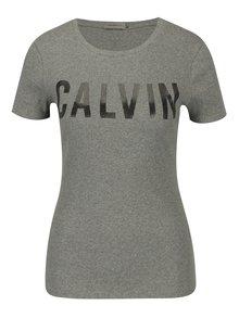 Sivé dámske rebrované tričko s potlačou Calvin Klein Jeans Tanya