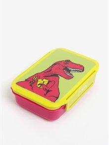 Žluto-růžový box na jídlo s motivem T-Rexe Mustard