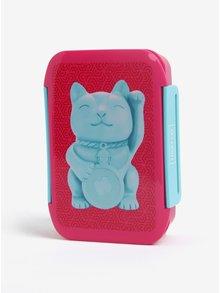 Cutie roz pentru mancare cu print pisica- Mustard
