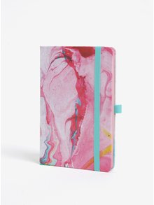 Carnet A5 cu pagini punctate si print abstract - Mustard