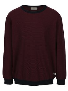 Pulover tricotat bordo cu dungi bleumarin - Jack & Jones Nash