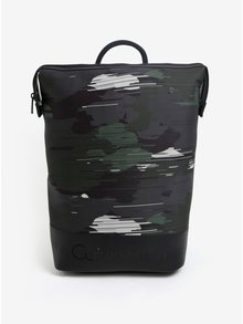 Zeleno-černý maskáčový batoh se zipem Calvin Klein Jeans Caillou