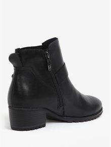 Černé kožené voděodolné kotníkové boty s přezkou Tamaris