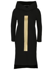 Čierne mikinové šaty s kapucňou a potlačou v zlatej farbe Mikela da Luka