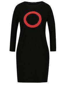 Čierne šaty s potlačou a 3/4 rukávom Mikela da Luka