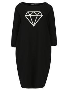 Čierne šaty s potlačou diamantu Mikela da Luka