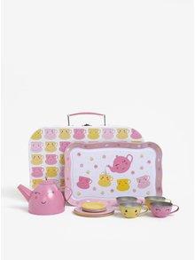 Růžový dětský čajový set v kufříku Sass & Belle