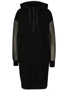 Čierne mikinové šaty s priesvitnými rukávmi Noisy May Harper