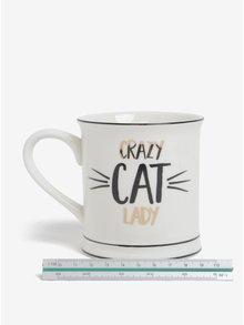 Krémový hrnček Crazy Cat Lady Sass & Belle