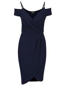Tmavě modré pouzdrové překládané šaty s odhalenými rameny AX Paris