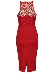 Červené puzdrové šaty s čipkovaným topom AX Paris