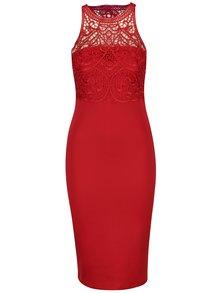 Červené pouzdrové šaty s krajkovým topem AX Paris