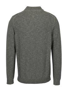 Svetlosivý pánsky melírovaný sveter so zipsom s.Oliver