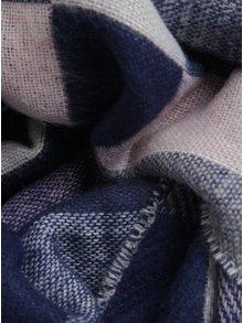 Starorůžovo-modrá kostkovaná šála s třásnemí Dorothy Perkins