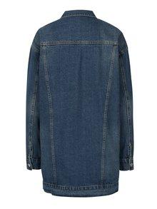 Modrá dlhá rifľová bunda VERO MODA Oline