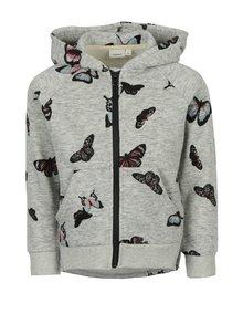 Sivá chlapčenská mikina na zips s potlačou motýľov name it Kutter