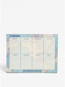 Modrý týždenný plánovací blok s motívom mapy Sass & Belle