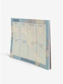 Modrý týdenní plánovací blok s motivem mapy Sass & Belle