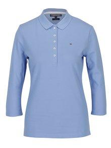 Modré dámské slim fit polo tričko s 3/4 rukávem Tommy Hilfiger