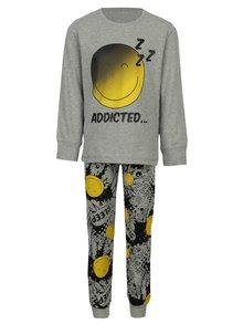Sivé chlapčenské pyžamo s potlačou name it Happy