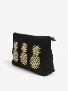 Černá kosmetická taštička s motivem ananasů Sass & Belle