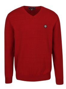 Červený pánsky sveter s nášivkou Jimmy Sanders