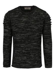 Pulover negru cu detalii in relief din amestec de lana  Jimmy Sanders