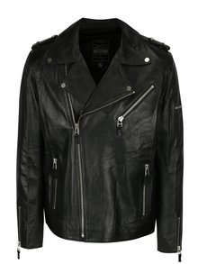 Jacheta biker neagra din piele pentru barbati Jimmy Sanders