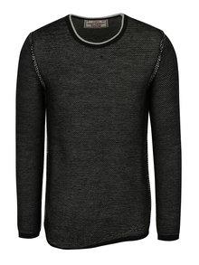 Černý pánský žíhaný svetr s příměsí vlny Jimmy Sanders