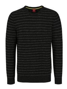 Sivo-čierny pánsky pruhovaný sveter s.Oliver
