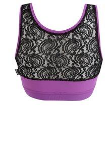 Fialová športová podprsenka s čipkovanou zadnou časťou Mania fitness wear Goddness